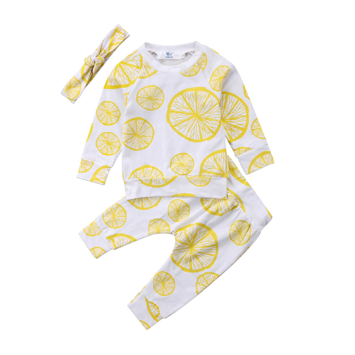 4c1aff3402280 3pcs Baby Clothing Sweet Newborn Baby Girl Outfit Clothes Pugs Donuts Lemon  Tops Leggings Pant Headband Set