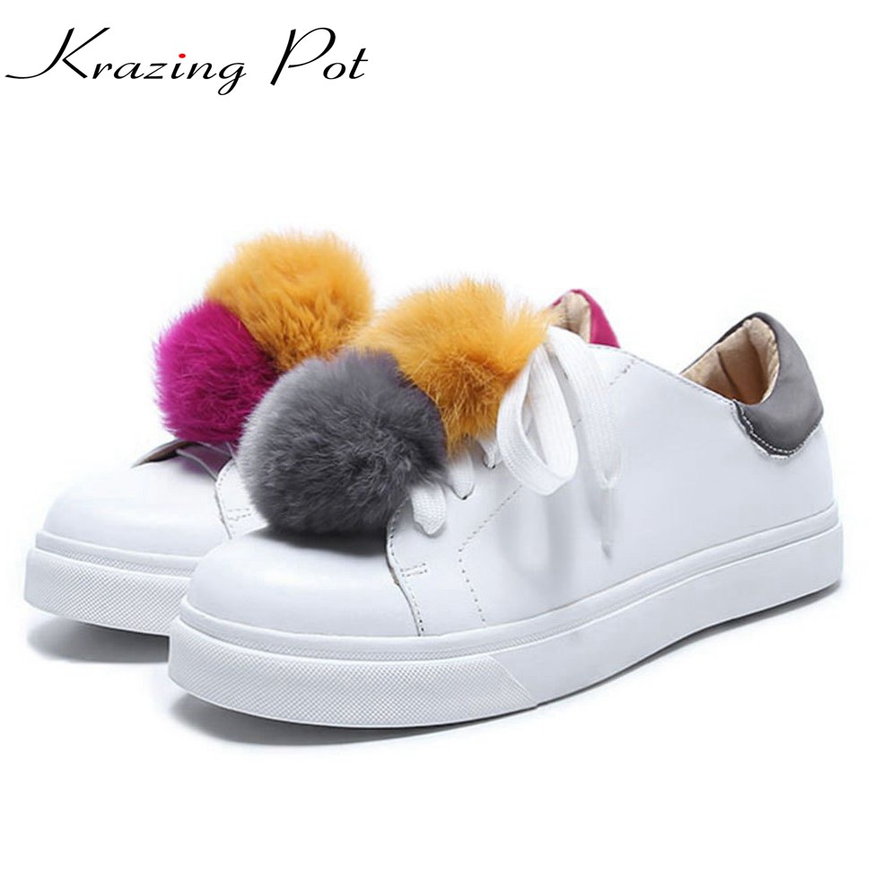 Krazing Pot genuine leather superstar round toe sneaker solid causal shoes colorful rabbit fur women cozy vulcanized shoes L00 adidas superstar shell toe fashion sneaker