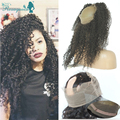 Mongolian Virgin Hair Kinky Curly 360 Lace Band Frontal With Adjustable Straps Afro Kinky Curly 360 Lace Frontal With Baby Hair