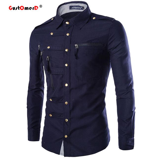 Primavera 2016 Nuevos Hombres de la Camisa de Vestir Camisas de Algodón Estilo de la Universidad para Los Hombres de Moda Slim Fit Manga Larga Para Hombre Camisas Diseñador ropa