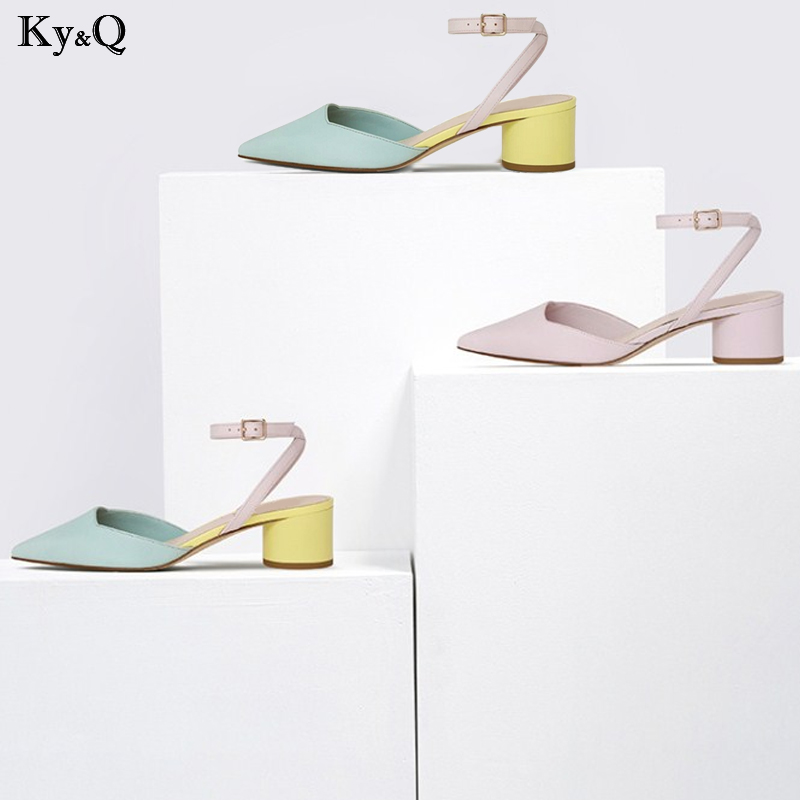 2019 Spring New Ladies Fashion Simple Pointed Comfortable Coarse With Baotou Word Buckle With Shallow Mouth Wild Sandals 3-5cm2019 Spring New Ladies Fashion Simple Pointed Comfortable Coarse With Baotou Word Buckle With Shallow Mouth Wild Sandals 3-5cm