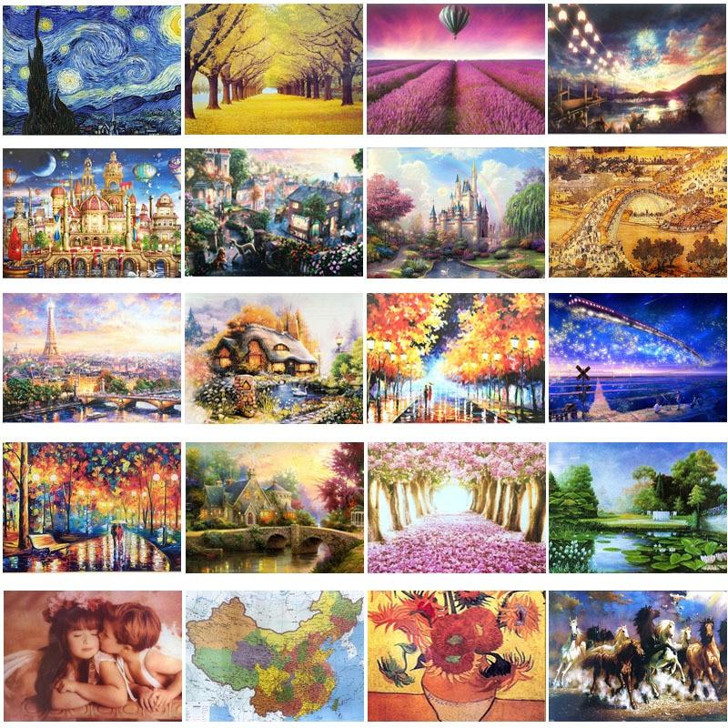 1000 Pieces Adult Puzzle Kids Jigsaw Landscape Puzzles Noctilucent Educational Toys For Children Adult Fluorescent Puzzles Gift
