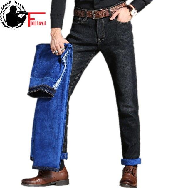 classic styles nice cheap running shoes € 27.46 |Hommes hiver épaissir Stretch Denim Jeans chaud bleu épais polaire  doublé Jean mâle Stretch pantalon thermique taille 36 38 40 42 dans Jeans  ...