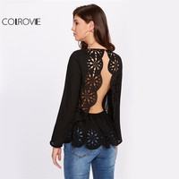COLROVIE Laser Cut Sexy Blouse Open Back Black Tops 2017 Women Scallop Elegant Autumn Tops Button
