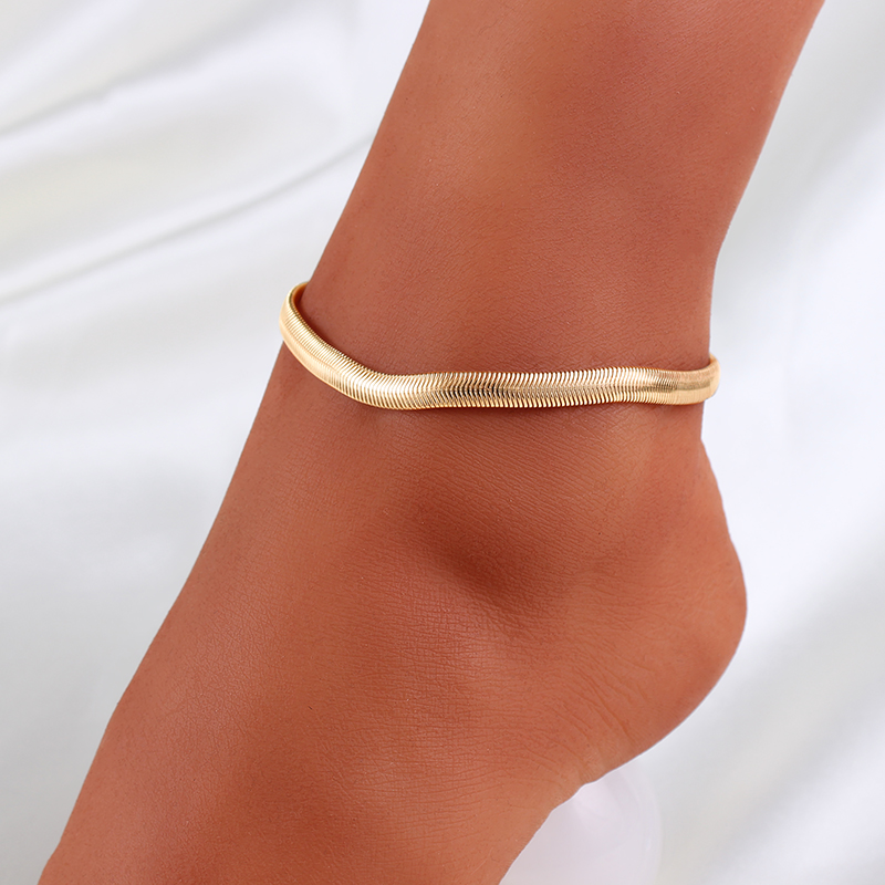 1PC Fashion Flat Snake Bone Women Ankle Bracelet Beach Gold Silver Color Anklets Foot Jewelry Beach Summer Pulseras Tobilleras