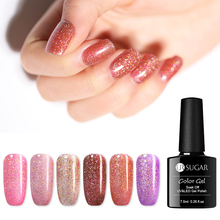 UR SUGAR 7.5ml Holographic Glitter Nail Gel Polish Shining Laser Soak Off UV Gel Varnish Pink Manicure Nail Art Gel Lacqure