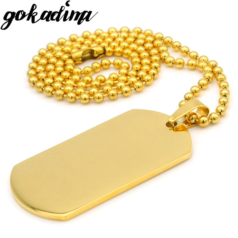 Gokadima Fashion Gold Color Stainless Steel Military Dog tags