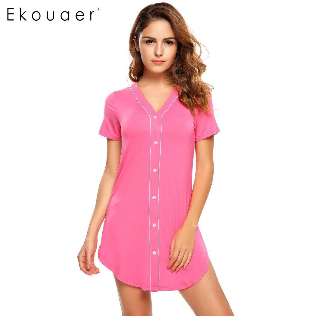 Ekouaer 2017 brand nightgown womens short sleeve solid for Women s flannel sleep shirt