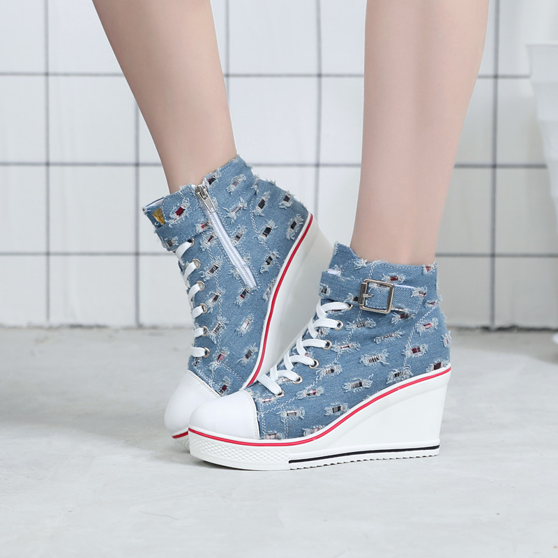 Women Wedges Badge High Top Platform Shoes Dropshipping Woman plus size 41 42 Casual Trainers Shoe High Heels Walking Shoes e lov women casual walking shoes graffiti aries horoscope canvas shoe low top flat oxford shoes for couples lovers