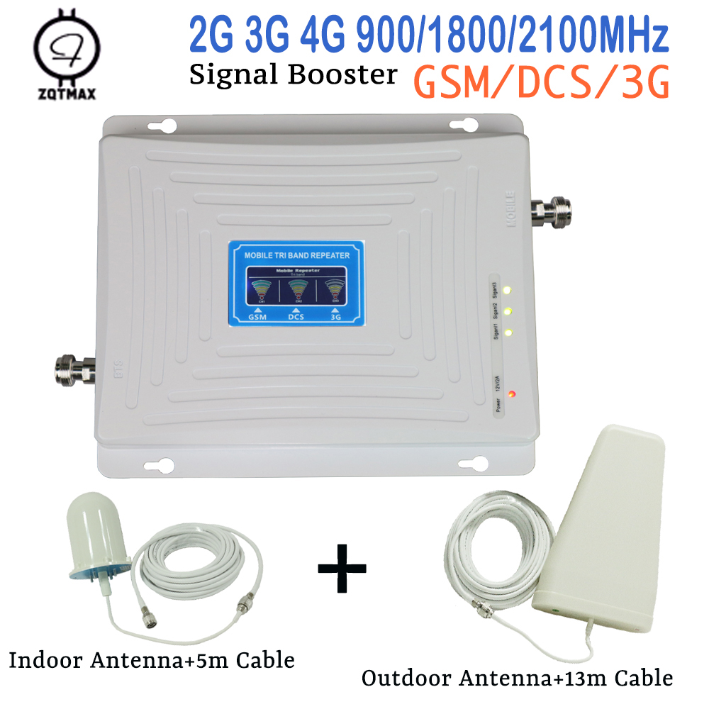 ZQTMAX 2g 3g 4g Tri Band Signal Booster 900 1800 2100 GSM WCDMA UMTS LTE Cellular Repeater Cell Phone Amplifier With 4G Antenna