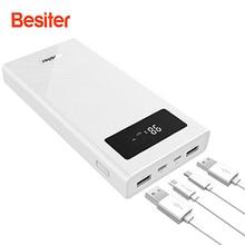 Besiter Puissance Banque 20000 mah Charge Rapide Portable Téléphone Chargeur Pour Téléphones Intelligents Externe Batterie powerbank cargador portatil