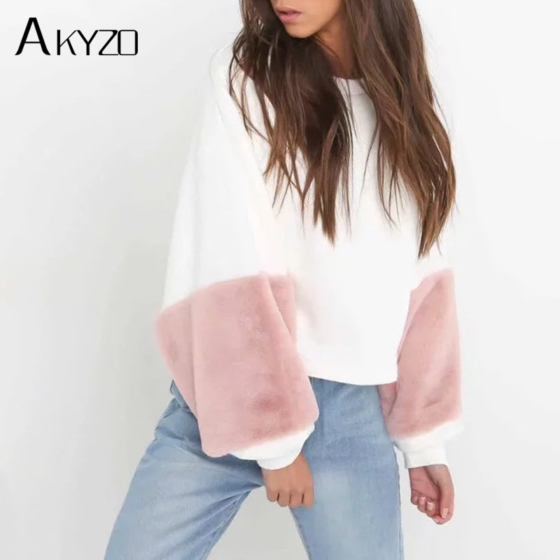 AKYZO 2017 Autumn Sweatshirt Women Fashion Loose Patchwork faux fur Hoodies Casual Full Lantern Sleeve Pullovers