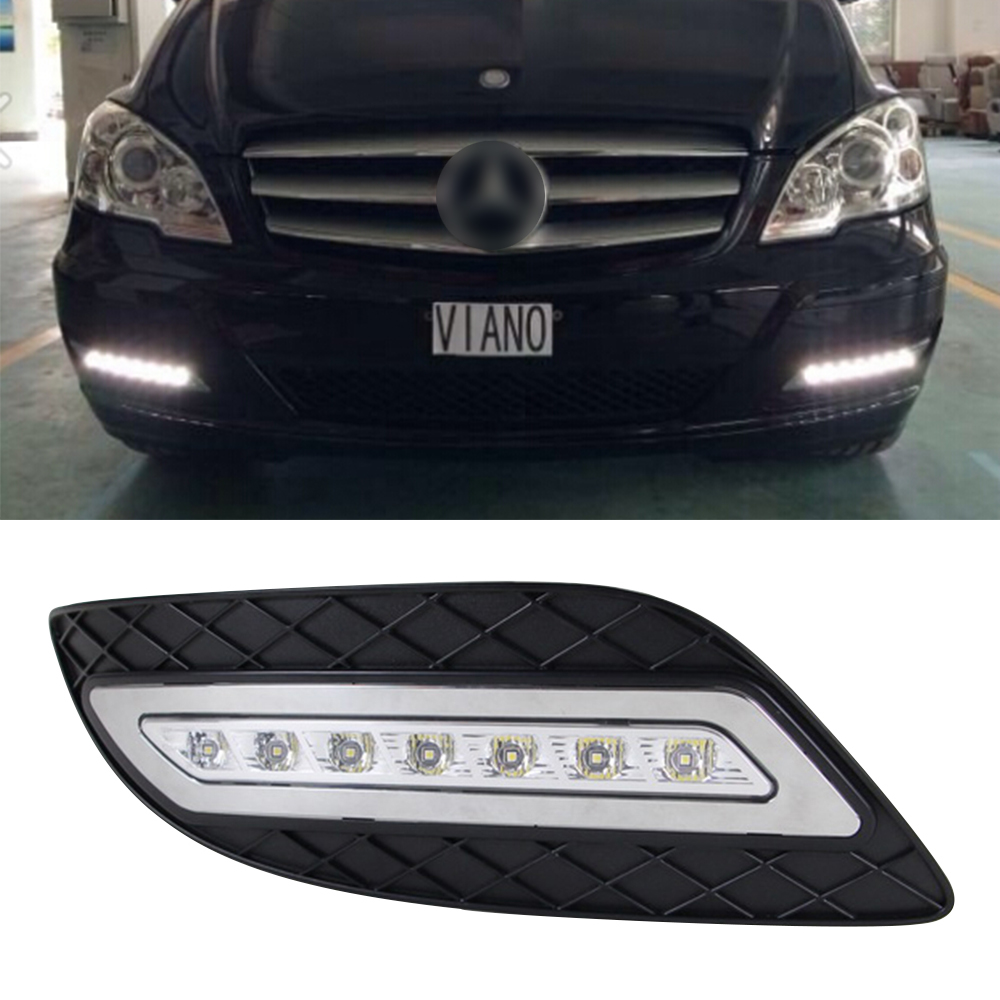 Car DRL kit for Mercedes-Benz Viano 2011 2012 2013 2014 LED Daytime Running Light Bar auto fog lamp daylight led drl relay light hot sale abs chromed front behind fog lamp cover 2pcs set car accessories for volkswagen vw tiguan 2010 2011 2012 2013