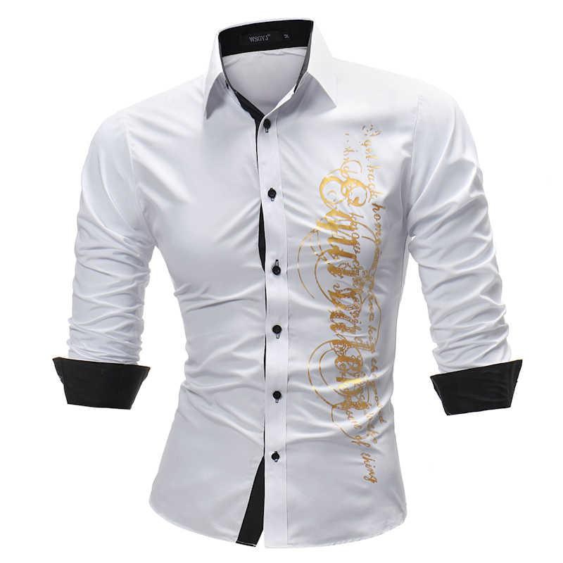 Nhãn hiệu Thời Trang 2018 Áo Sơ Mi Nam Dài-Tay Áo Tops Letter In Mens Sơ Mi Slim Men Shirt Cộng Với Kích Thước 4XL
