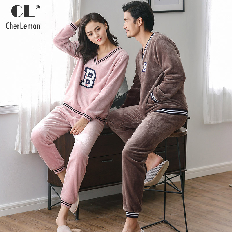 CherLemon Couples Soft Pullover V Neck Letter Flannel Pajamas Women and Mens Thick Warm Long Sleeve Coral Fleece Winter Homewear