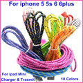 Colorful Braided Wire 1M 2M 3M BrankBass Sync Data Charger Cable for iPhone 5 5s 6 6plus for ipad Mini