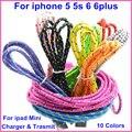 Colorido alambre trenzado 1 m 2 m 3 m brankbass sync cargador cable de datos para iphone 5 5s 6 6 plus para ipad mini