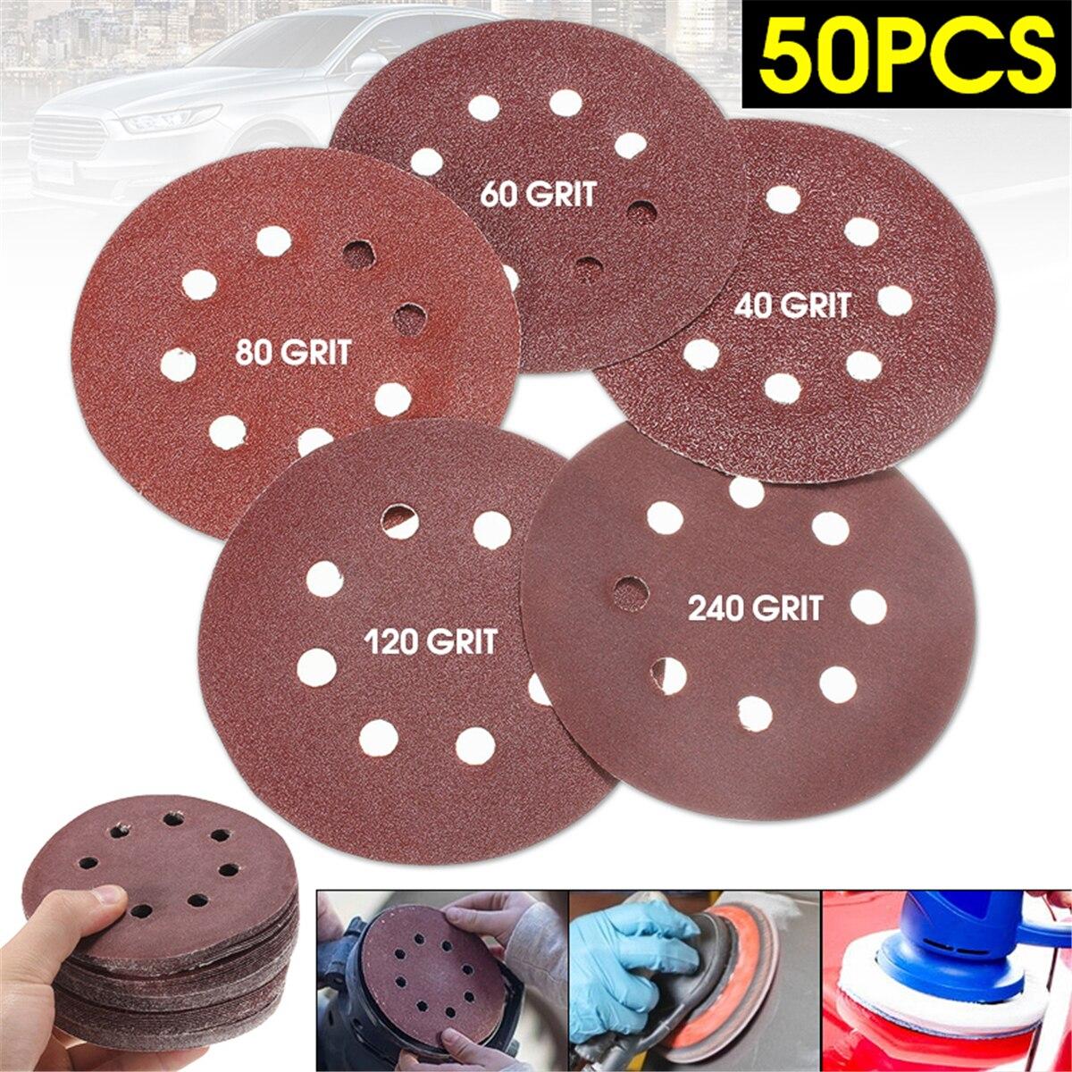 50pcs/Set 125mm Sanding Disc Round Shape 8 Hole Mixed 40 60 80 120 240 Grit Orbital Paper Punch Sheet Sandpaper Polisher Sanders