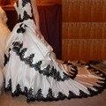 Готический Черный И Белый Кружева Аппликации Атласные Свадебные Платья Многоуровневое Плюс Размер Длинные Свадебные Платья Платье Халат Де Mariage