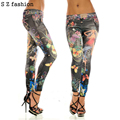 Sexy Women Mid Waist Black Leggings girl Butterfly Flower Printed Imitation Jeans Slim Faux Denim Pencil Pants Cartoon plus size