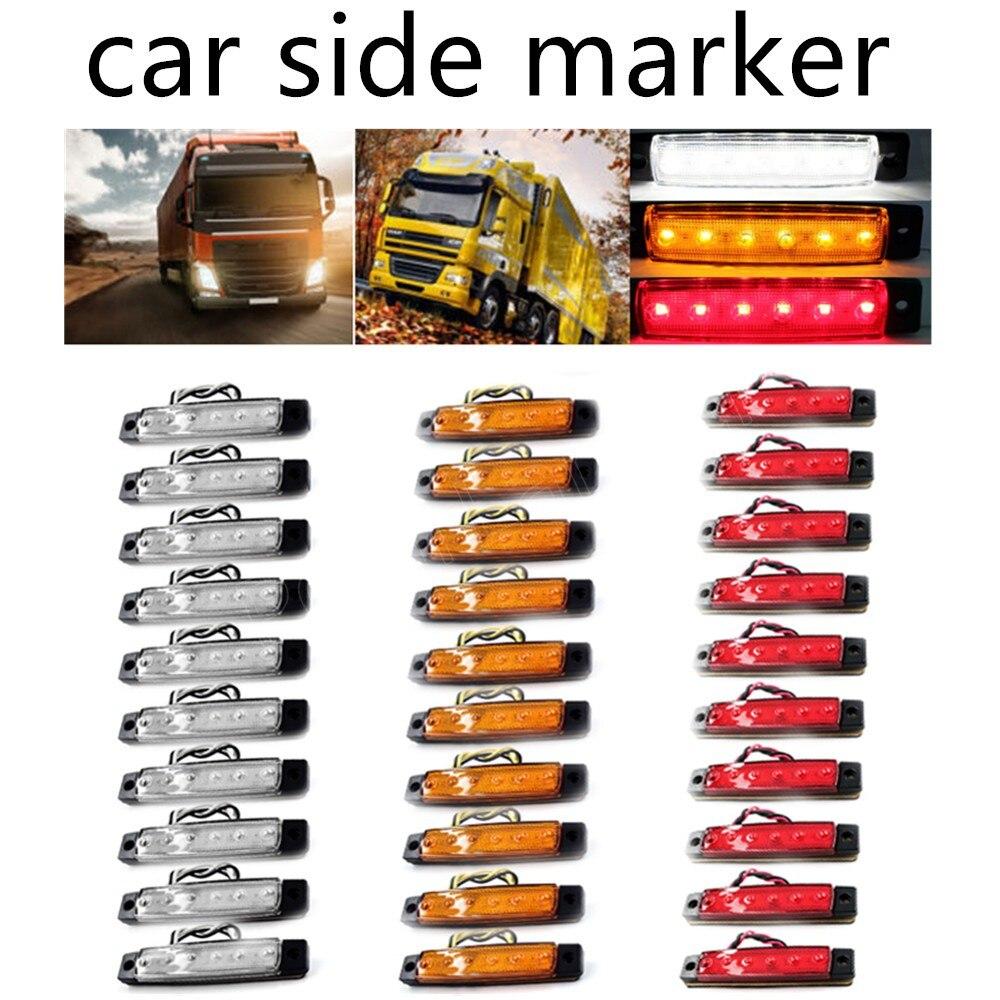 30шт 6led от автомобилей боковые габаритные огни вариант 12В 24В от внешнего света, габаритный фонарь грузовик прицеп красный желтый белый цвета