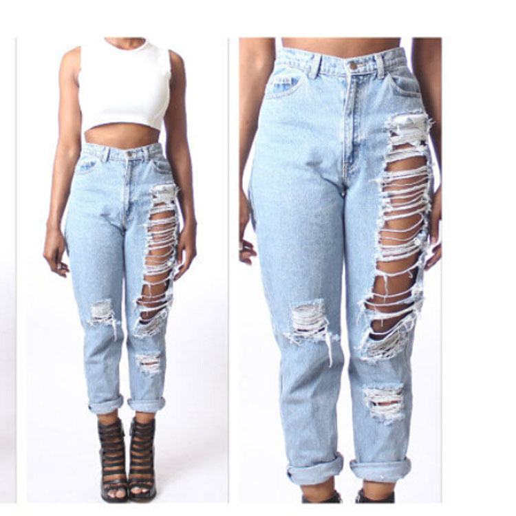 Aliexpress.com : Buy women Ripped Jeans hole Loose Jeans Womans ...