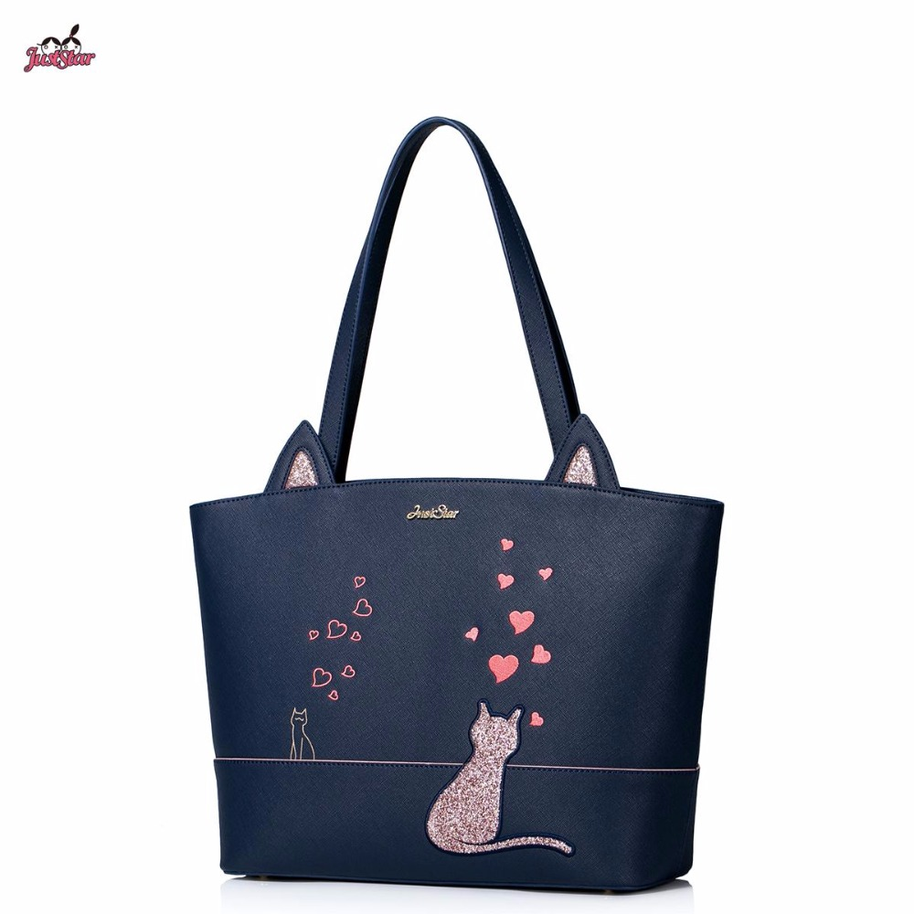цены Just Star Brand New Design Fashion Cats Ears Love Embroidery Casual Women PU Leather Girls Ladies Handbag  Shoulder Tote Bags