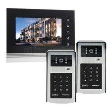 DIYSECUR 7 inch Touch Button Video Door Phone Intercom Doorbell IR Night Vision HD 300000 Pixels RFID Keypad Camera 2V1