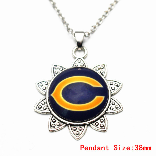Silver sunflower pendant necklace football chicago bears vintage silver sunflower pendant necklace football chicago bears vintage with 50cm chains necklace for women long necklace aloadofball Gallery
