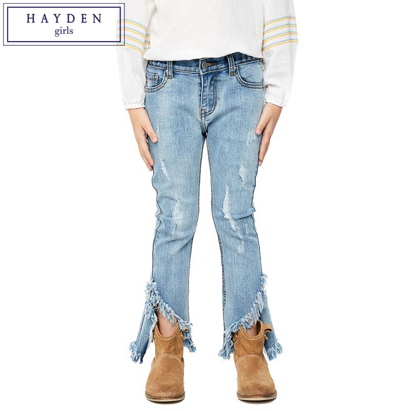 HAYDEN Teen Girls Flare Jeans Kids Fashion Wide Ripped Denim Pants Children's Boot Cut Trousers Tassel Frayed Hem 2017 Spring fashion hi street mens ripped denim joggers black distressed jeans pants streetwear slim fit straight biker trousers size 28 42
