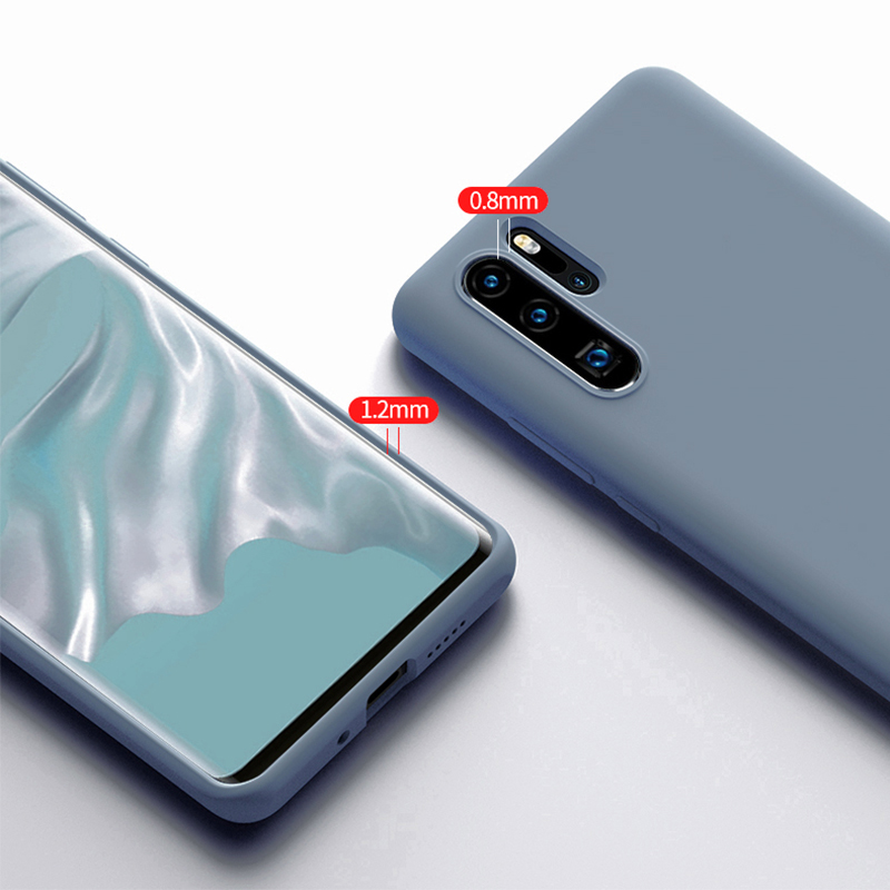 Ultra Thin Soft Liquid Silicone Phone Case For Huawei P30 Pro Lite Luxury Shockproof Case For Huawei Mate 20 P20 Pro Lite Cover in Fitted Cases from Cellphones Telecommunications