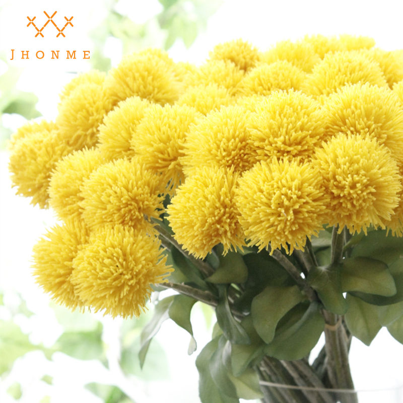 6headsbundle flocked pompom flower balls decorative plastic yellow 6headsbundle flocked pompom flower balls decorative plastic yellow artificial flowers fake flores for home decoration plants in artificial dried flowers mightylinksfo