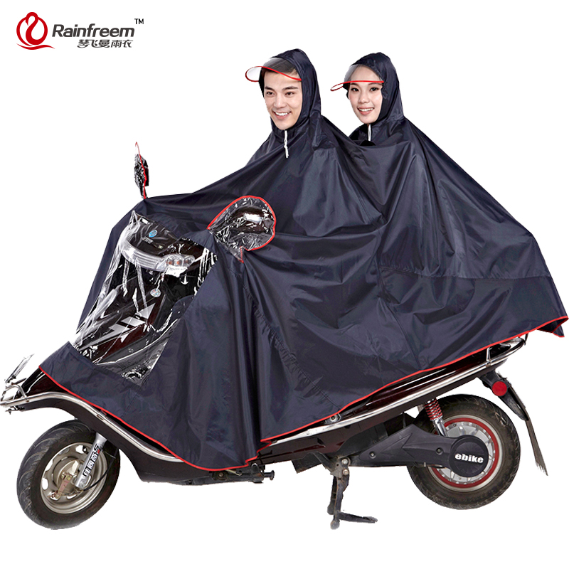 Rainfreem Impermeable Raincoat Women Men Thick Motorcycle Rainwear Poncho Oxford Rain Coat Women Waterproof Rain Gear