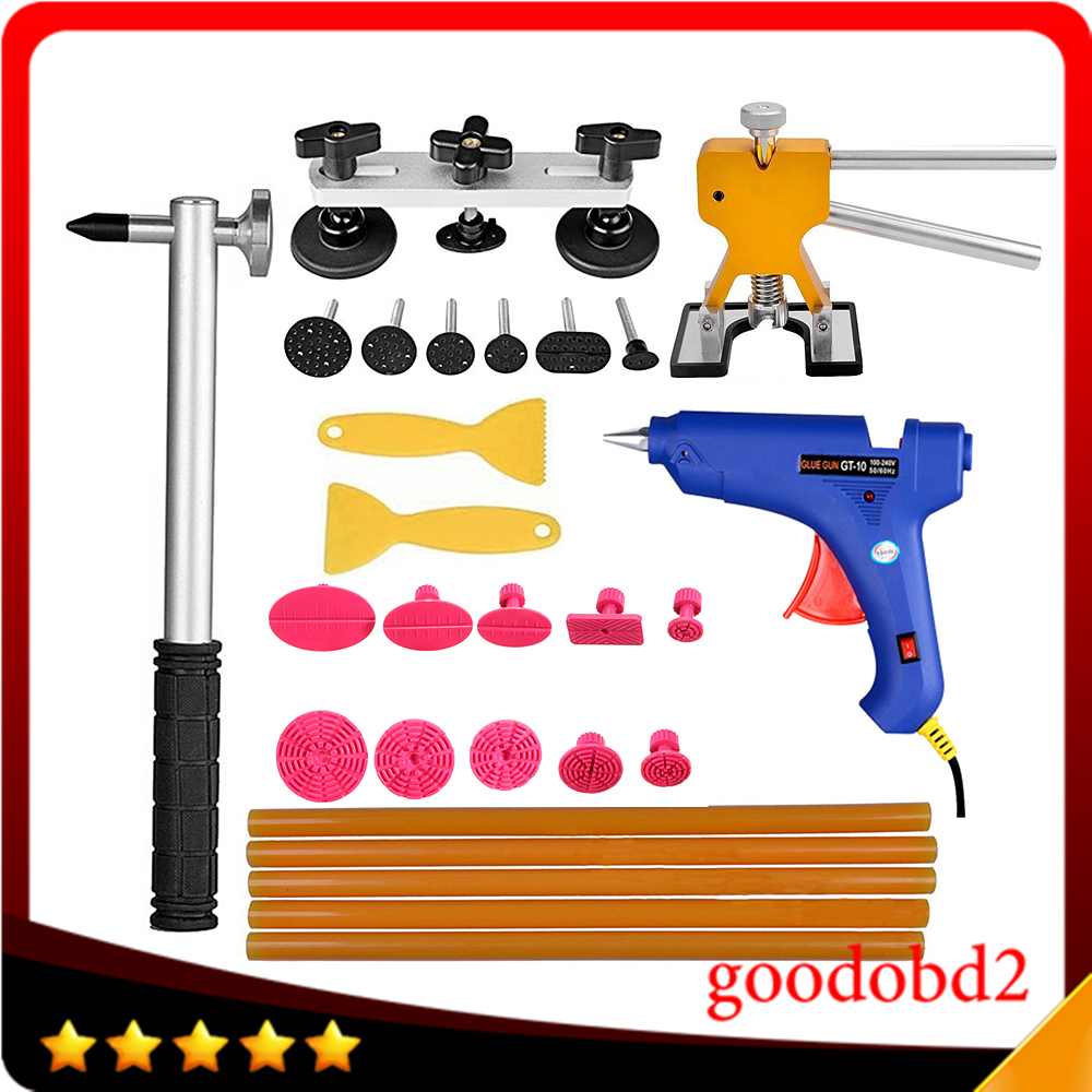 PDR Tools set Dent Removal Tool Paintless Dent Repair Tools Dent Puller kit Dent Lifter 10x Glue Tabs Pulling Bridge Herramentas  super pdr car paintless dent removal tools kit dent lifter pulling bridge glue gun glue tabs 34 pc dent repair tool set