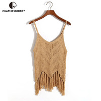 Knitted Crop Sexy Top Sexy Camis Women T Shirt Show Slim Solid Tassel Tank Top Free