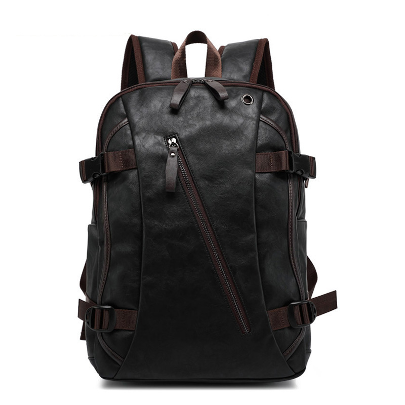 Casual Backpack Travel-Bags College-Style Men's Man PU Oil-Wax Western