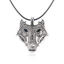 YimYik Norse Vikings Pendant Necklace Retro Norse Wolf Pendant For wolf head hange accessories Original Animal Jewelry