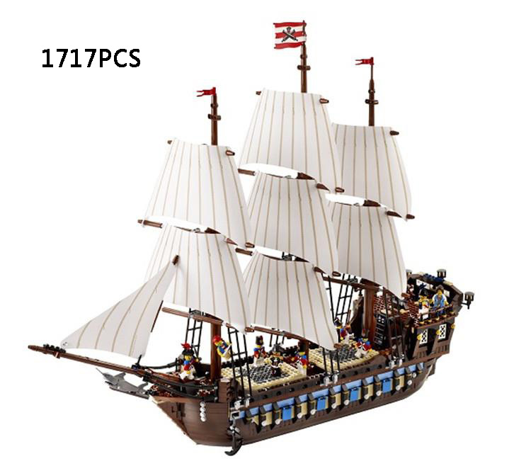 Hot Classic movie Pirates of the Caribbean Imperial warships building block model mini army figures lepins bricks 10210 toys lepin 22001 pirate ship imperial warships model building block briks toys gift 1717pcs compatible legoed 10210