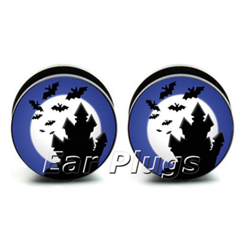 1 pair Halloween Night Plugs ear plug gauges tunnel acrylic screw flesh tunnel body piercing jewelry