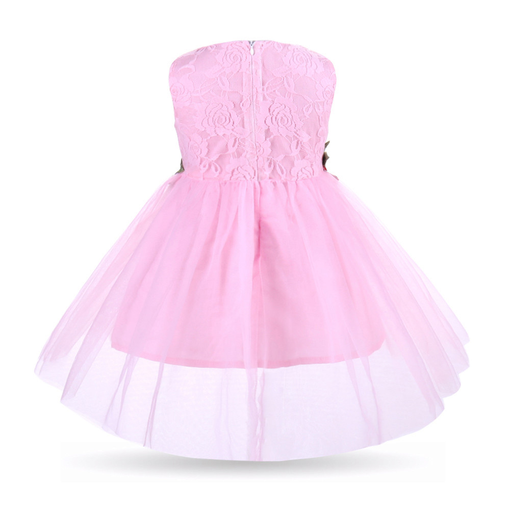 Toddler Baby Girls Flower Applique Sleeveless Sundress Princess Ball Gown Dress baby i bambini dreess kochanie dzieci dreess #2
