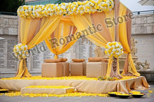 3M x 3M x 3M lemon yellow wedding pavillion drapes with stainless steel pipe stand,stage decoration church drapery(China)