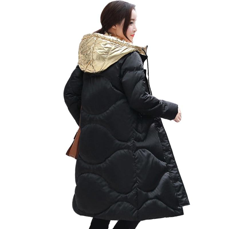 New 2017 Fashion Design Golden Hooded Winter Jacket Women Warm Down Parkas Long Female Jacket Coat Ladies Down Cotton Outerwear 2017 new women winter parkas fashion hooded thick warm medium long down cotton jacket long sleeve loose big yards female coat