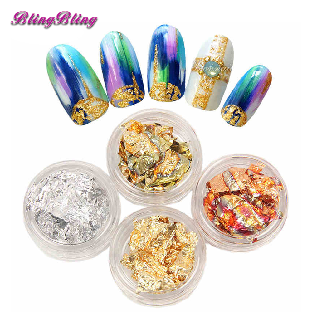 Blingbling 4Boxes Shinee Flake Nail Art Loose Glitter Sparkles Nail Art Stickers Metallic Gold Leaf Silver Holo Foil For Nails 1kg 3mm round dots glitter powder for nail polish or gel selectable glitter in bulk dot glitter silver gold loose wholesale