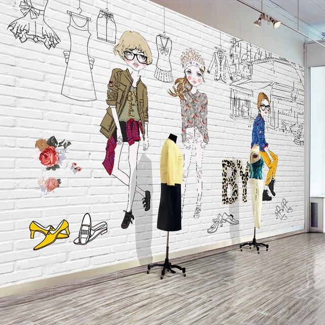 custom photo wallpaper hand painted cartoon clothing shop poster