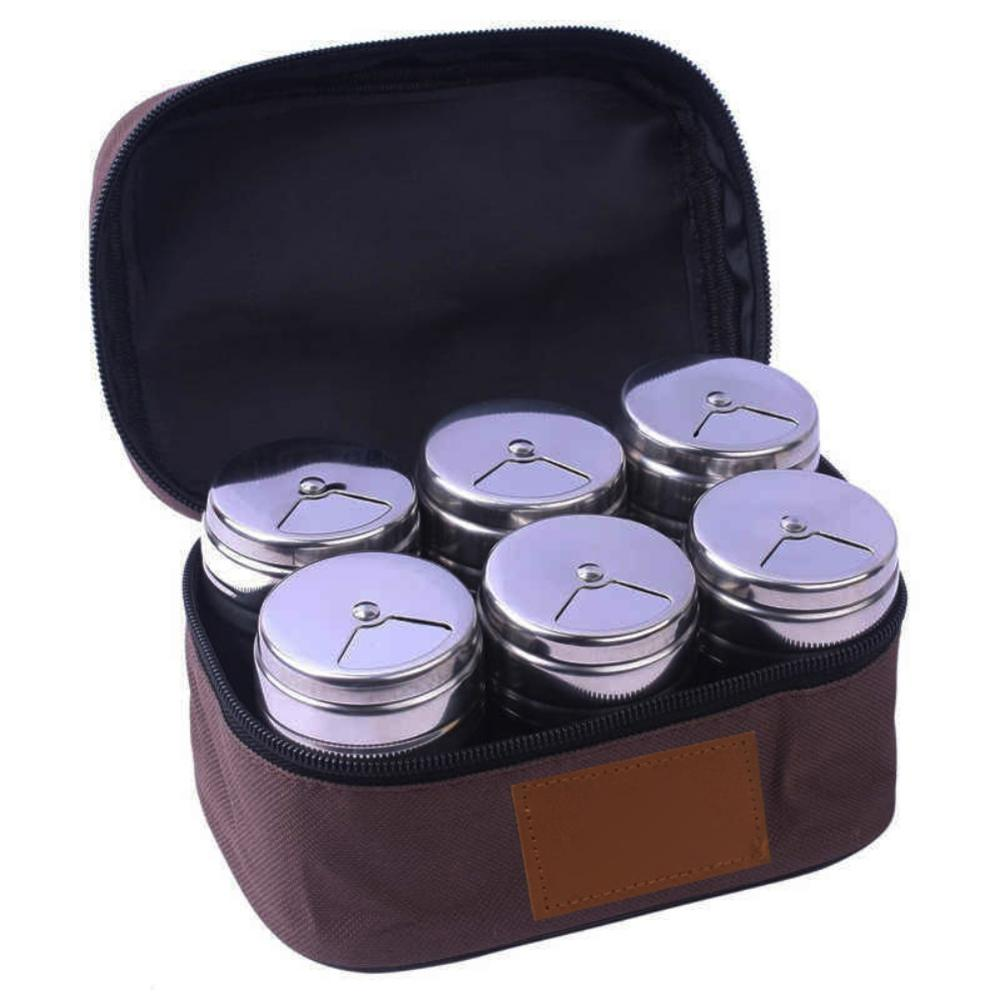 6pcs/set Portable Stainless Steel Spice Shaker Set With Rotating Lids And Travel Bag For Outdoor Camping Hiking BBQ New