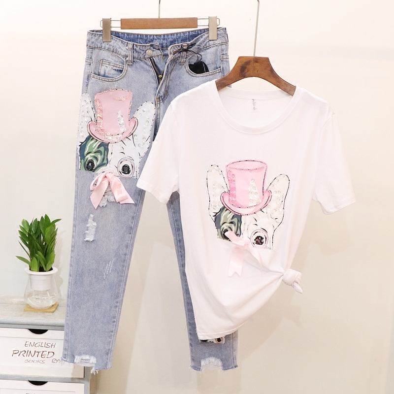 Summer Fashion Woman 2 Pieces Sets Outfits Pink Hat Dog Sequins White T Shirt Boyfriend Ripped Denim Jeans High Waist Pant Suit цена 2017