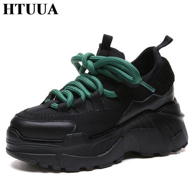 Htuua Новый 2018 Демисезонный Дамская обувь, черный цвет на шнуровке Повседневная обувь высокая Женская обувь на платформе кроссовки Туфли без каблуков tenis SX1451