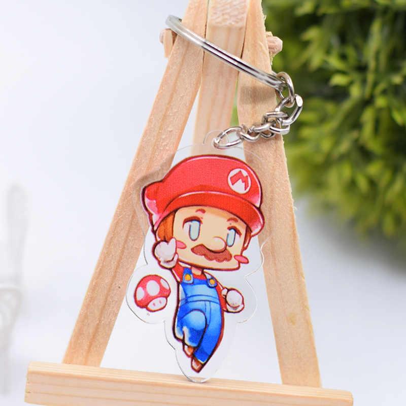 Super Mario Chaveiro Bonito Acrílico Dupla Face Chaveiro Pingente Acessórios Anel Chave Dos Desenhos Animados do Anime DBS1P
