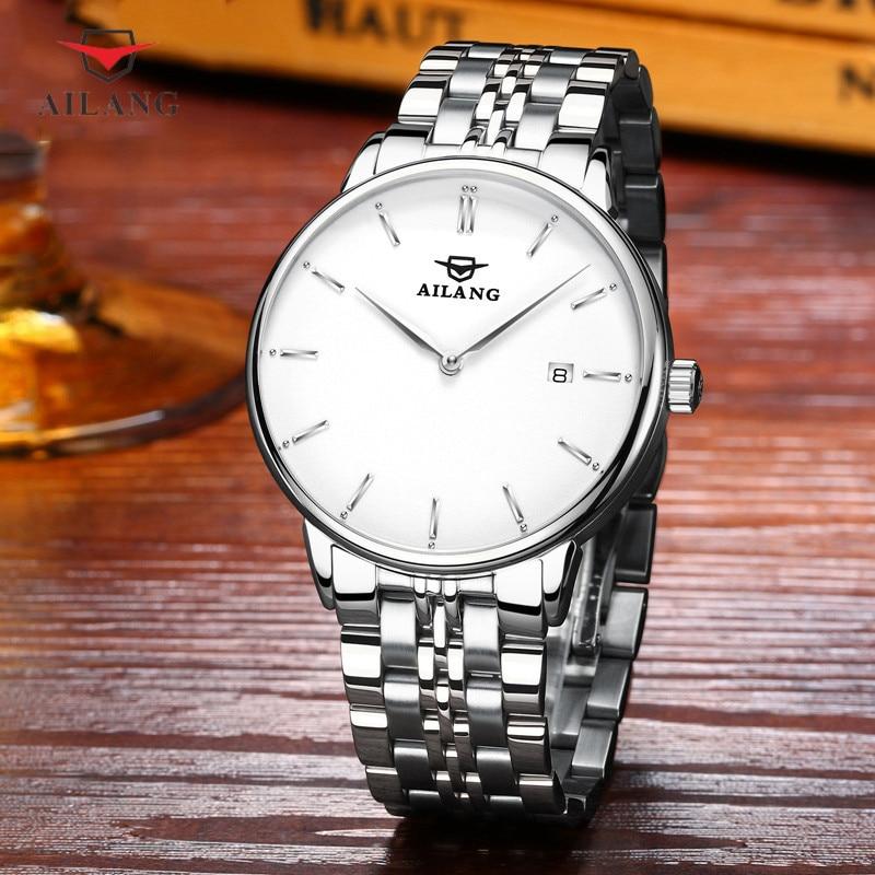 Di marca Semplice 2 Mani Analogico Orologi per Gli Uomini di Moda Vestito di Affari orologio Da Polso Meccanico a carica automatica Orologio Calendario Relógios