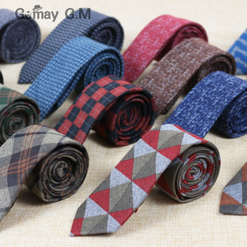 Fashion Skinny Cotton Wool Ties For Men Custom Made Brand Name Checked Slim Mens Neckties For Gift